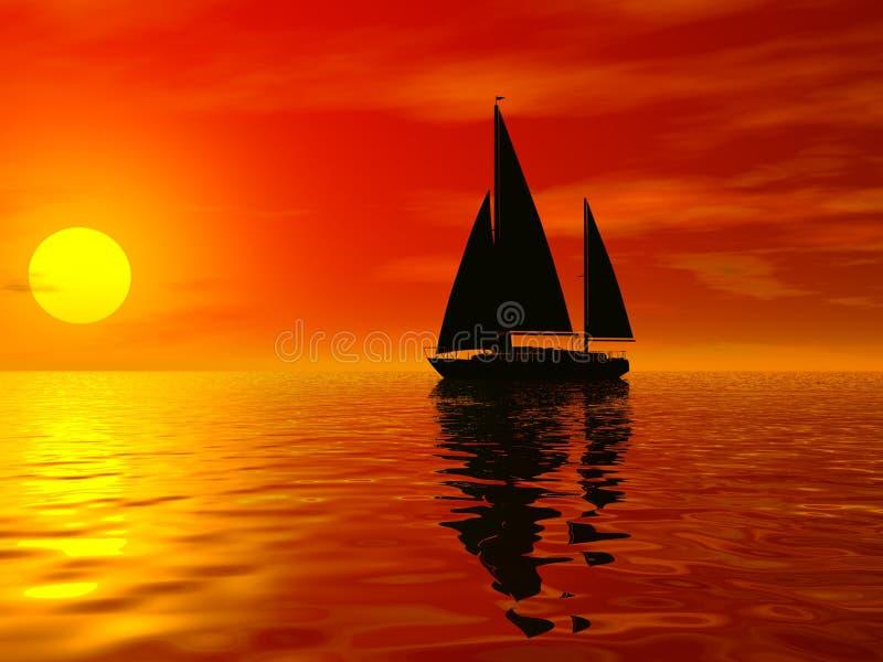 Coucher du soleil rouge illustration de vecteur