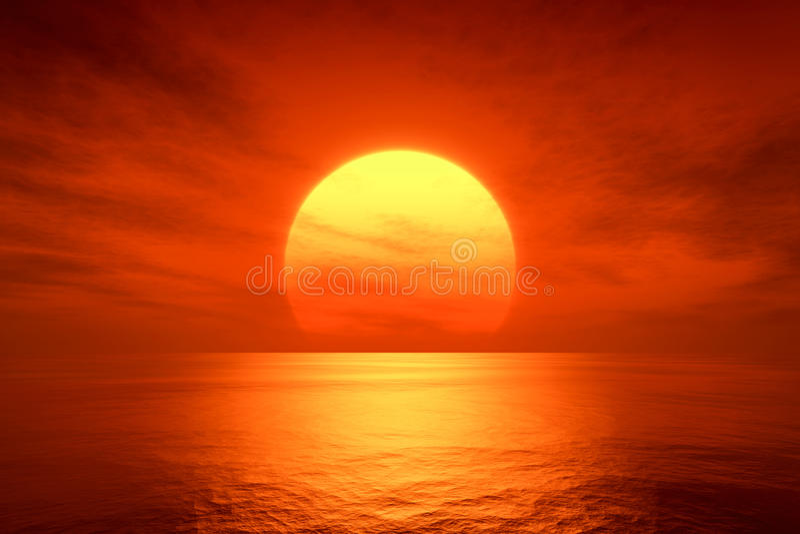 Coucher du soleil rouge illustration stock