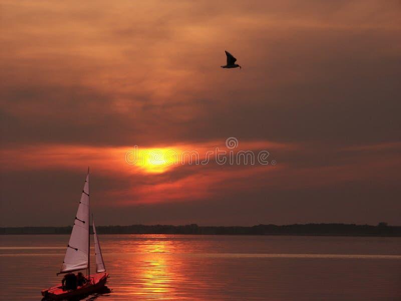Download Coucher du soleil rouge photo stock. Image du yacht, bateau - 59476