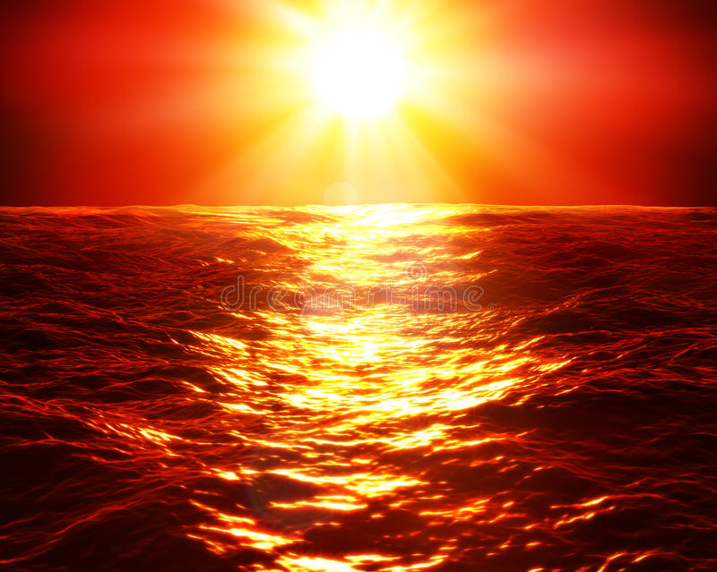 Coucher du soleil rouge au-dessus de mer photos libres de droits