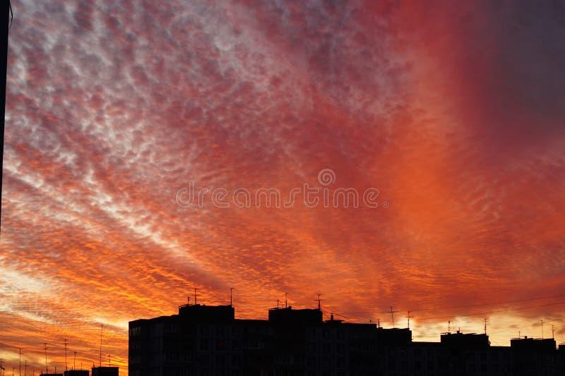 Coucher du soleil rouge dans une ville photo libre de droits