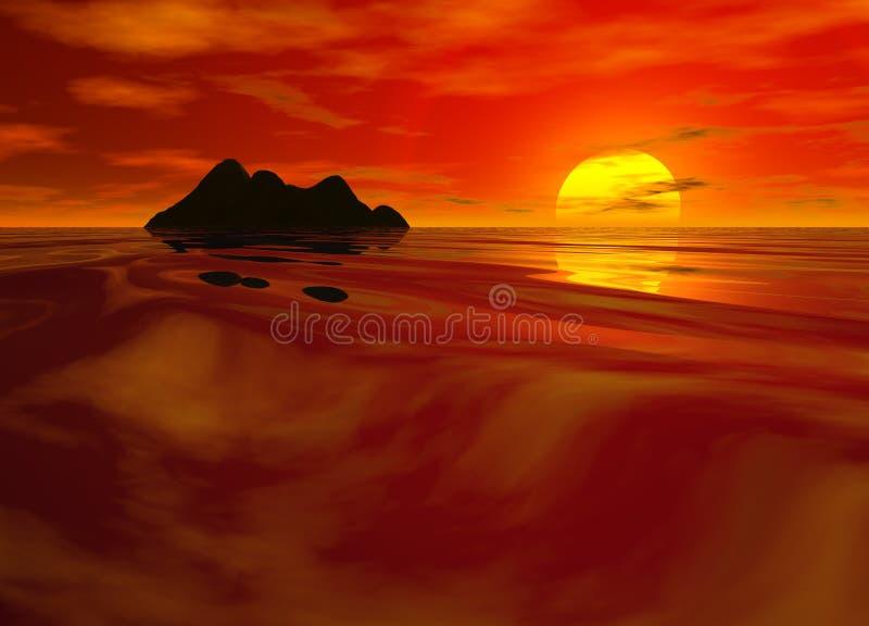 coucher du soleil rouge lumineux de paysage marin illustration libre de droits