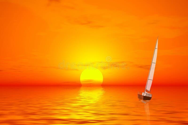 Coucher du soleil. Sailer en mer tranquille illustration de vecteur