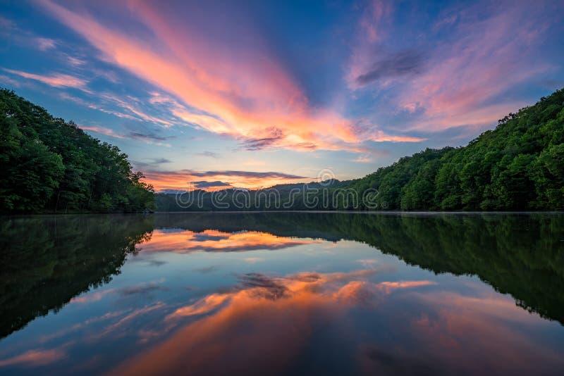 Coucher du soleil scénique, lac de montagne, Kentucky photos stock