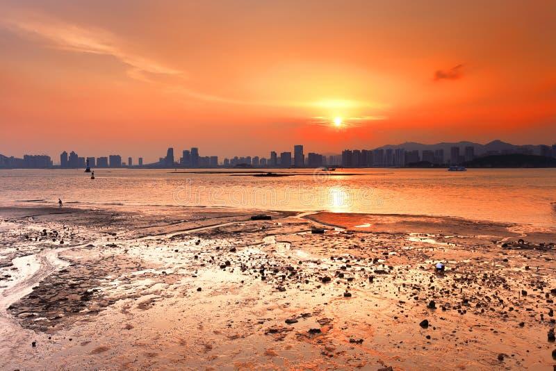 Coucher du soleil splendide de mudflat photo stock