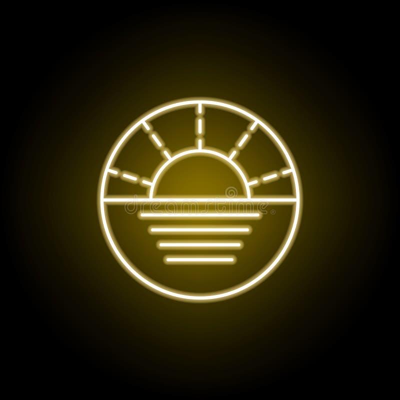 coucher du soleil sur l'ic?ne de mer dans le style au n?on Des signes et les symboles peuvent ?tre employ?s pour le Web, logo, l' illustration libre de droits