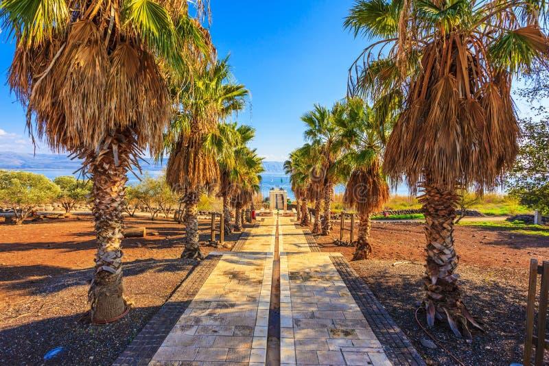 Coucher du soleil sur la mer de la Galilée image libre de droits
