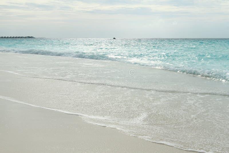 Coucher du soleil sur la plage en île tropicale image stock