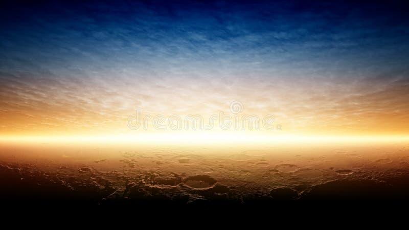 Coucher du soleil sur la planète Mars images libres de droits