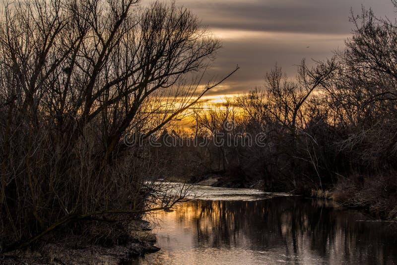 Coucher du soleil sur la rivière de Boise par les arbres et la brosse photo stock