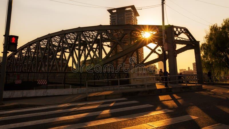 Coucher du soleil sur la rivière Suzhou photo libre de droits