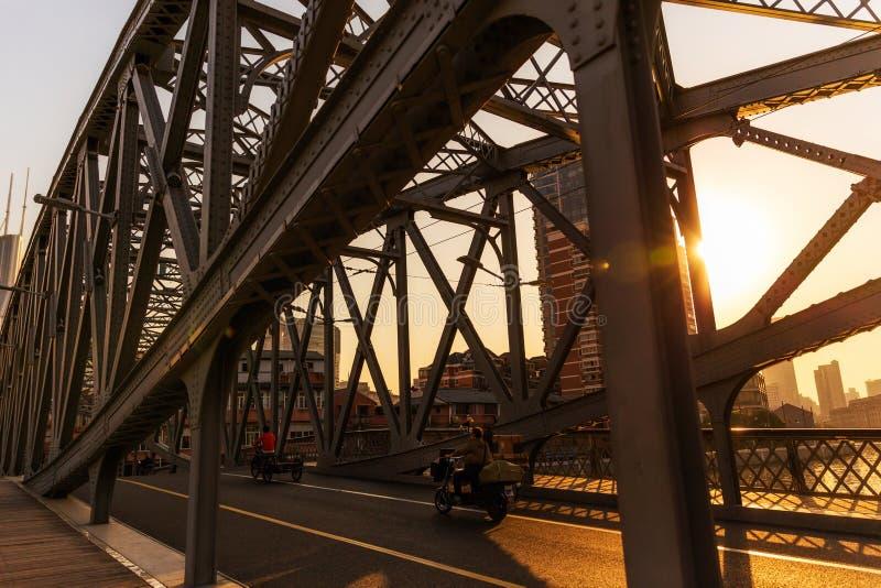Coucher du soleil sur la rivière Suzhou images libres de droits
