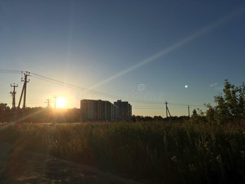 Coucher du soleil sur la zone photographie stock