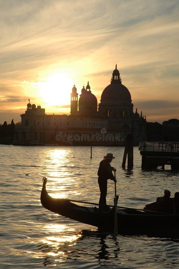 Coucher du soleil sur le compartiment de Venise photos libres de droits
