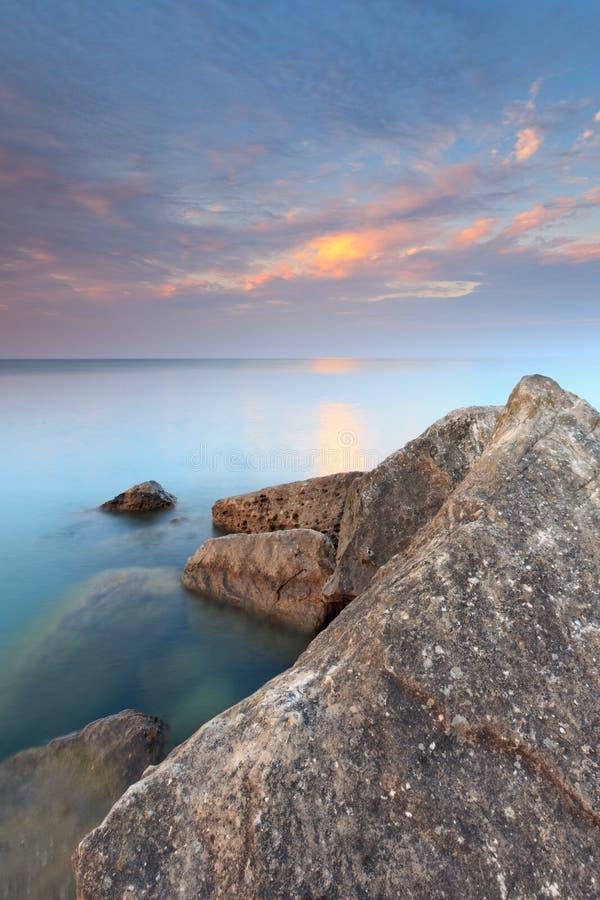 Coucher du soleil sur le lac Ontario photographie stock