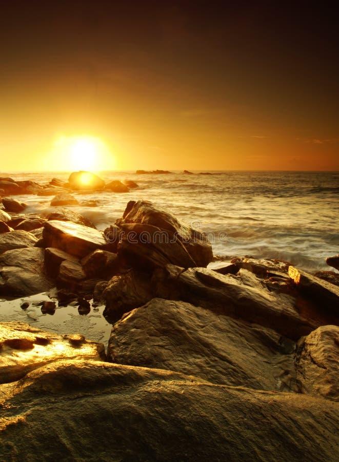 Coucher du soleil sur le Sri Lanka image libre de droits