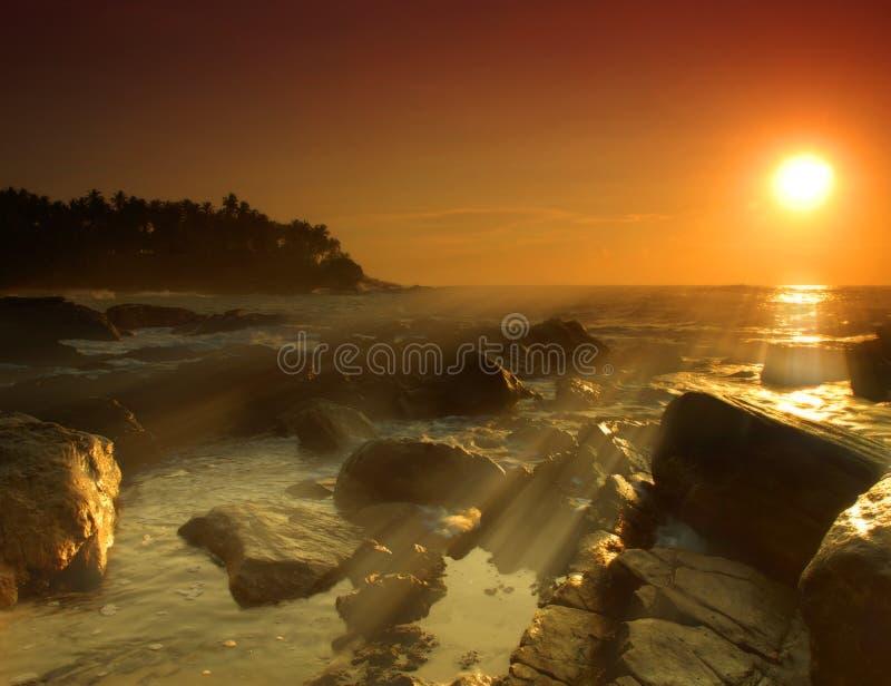 Coucher du soleil sur le Sri Lanka image stock