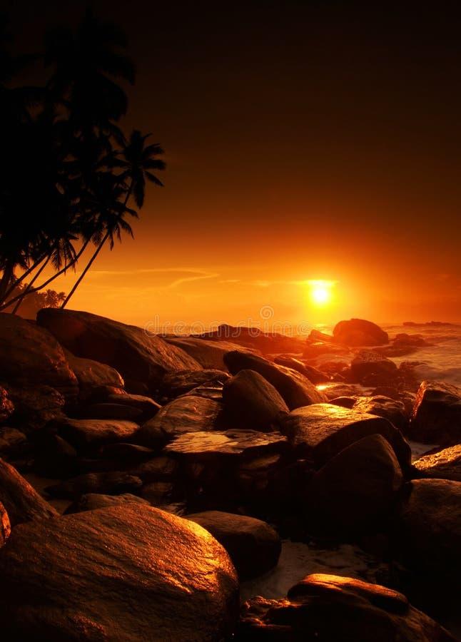 Coucher du soleil sur le Sri Lanka images libres de droits