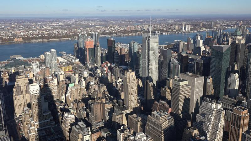 Coucher du soleil sur le voisinage du centre de Manhattan à New York City, Etats-Unis d'Amérique 2019 photographie stock libre de droits