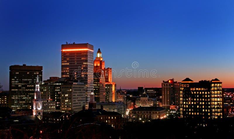 Coucher du soleil sur Providence images stock