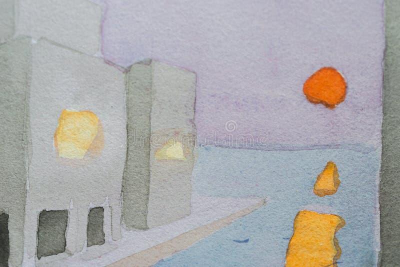 Coucher du soleil tiré par la main à un port dénommé urbain illustration libre de droits