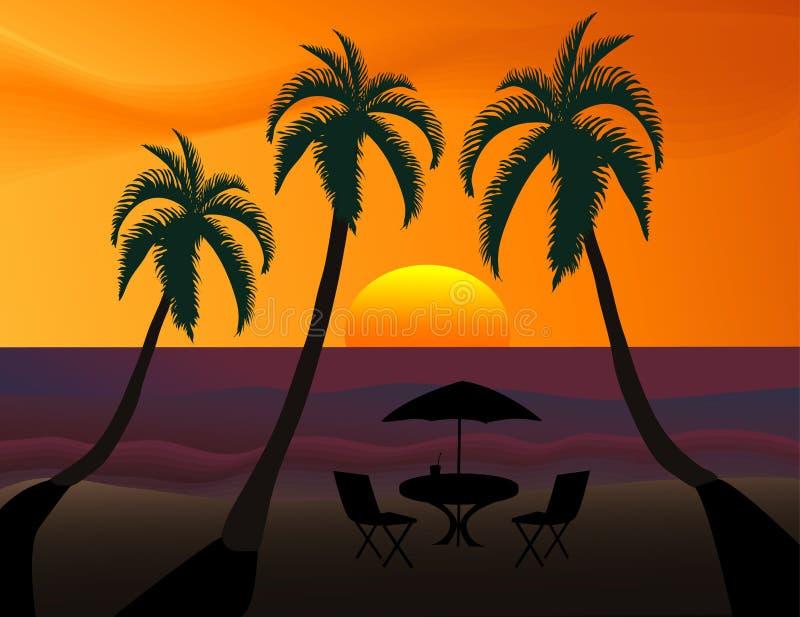 Coucher du soleil tropical illustration libre de droits