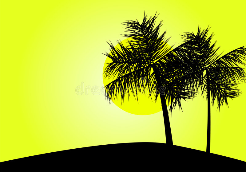Coucher du soleil tropical illustration libre de droits