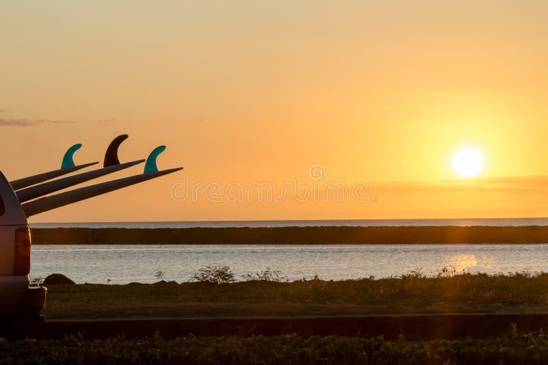 Coucher du soleil tropical coloré sur le rivage du nord, Oahu photos libres de droits