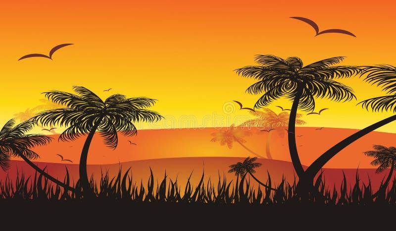 Coucher du soleil tropical de vacances d'été illustration de vecteur