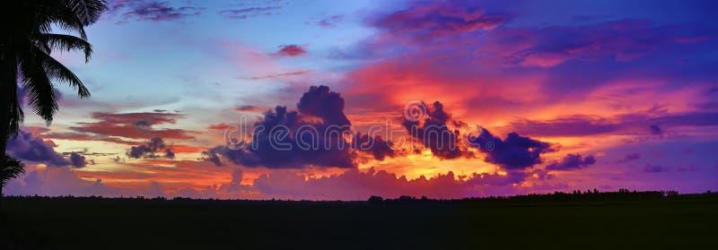 Coucher du soleil tropical dramatique image stock
