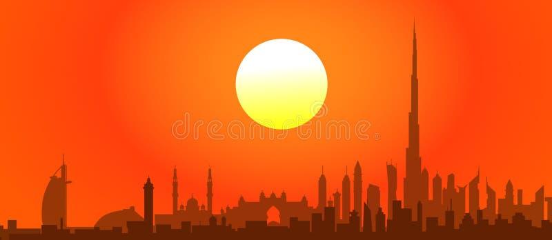 Coucher du soleil-vecteur de Dubaï illustration stock