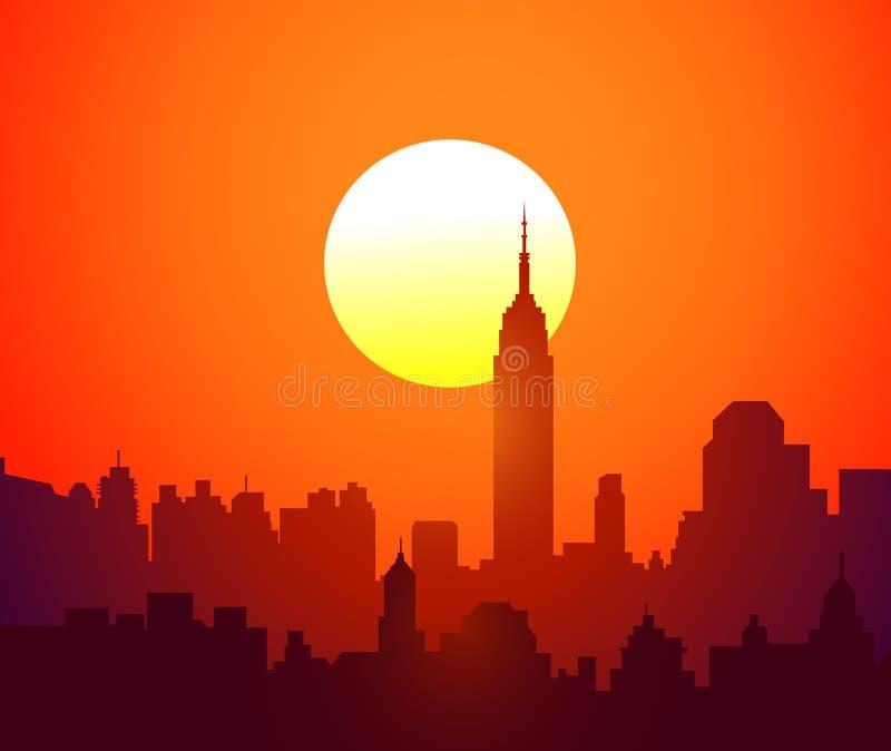Coucher du soleil vecteur de new york illustration de - Coucher du soleil new york ...