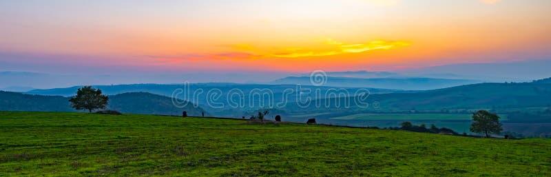 Coucher du soleil vibrant coloré, vue panoramique aux champs de ferme photos libres de droits