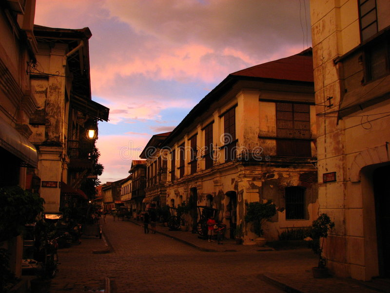 Coucher du soleil, Vigan, les Philippines photo libre de droits