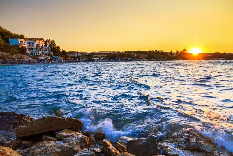 Coucher du soleil Zakynthos de plage image libre de droits