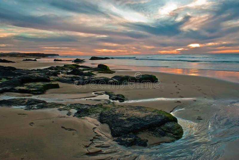 Couchers du soleil de Playa del Castillo photos libres de droits