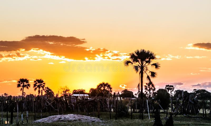 Couchers du soleil namibiens photo libre de droits