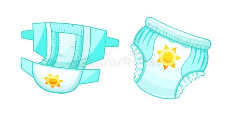 Couches-culottes absorbantes de bébé, pantalon d'enfants La protection confortable antibactérienne des enfants illustration de vecteur