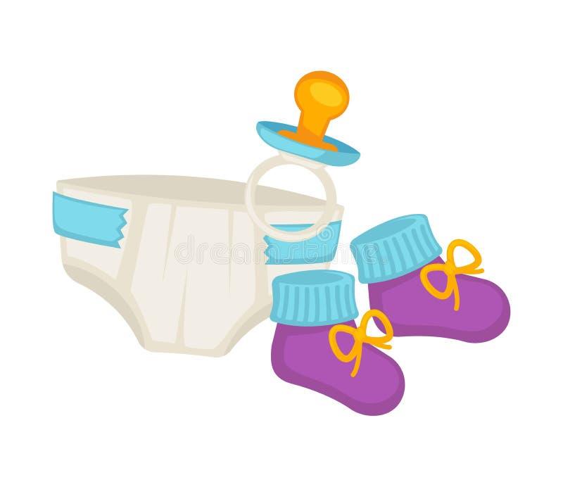 Couches-culottes de bébé, butins tricotés et petit ensemble de tétine illustration de vecteur