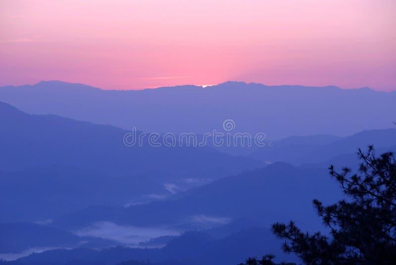 Couches des montagnes fumeuses avec les nuages et le premier plan du d'arbre images stock