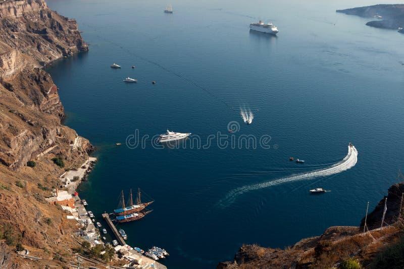 Couchette de Santorini, Thira Fira, Grèce image stock