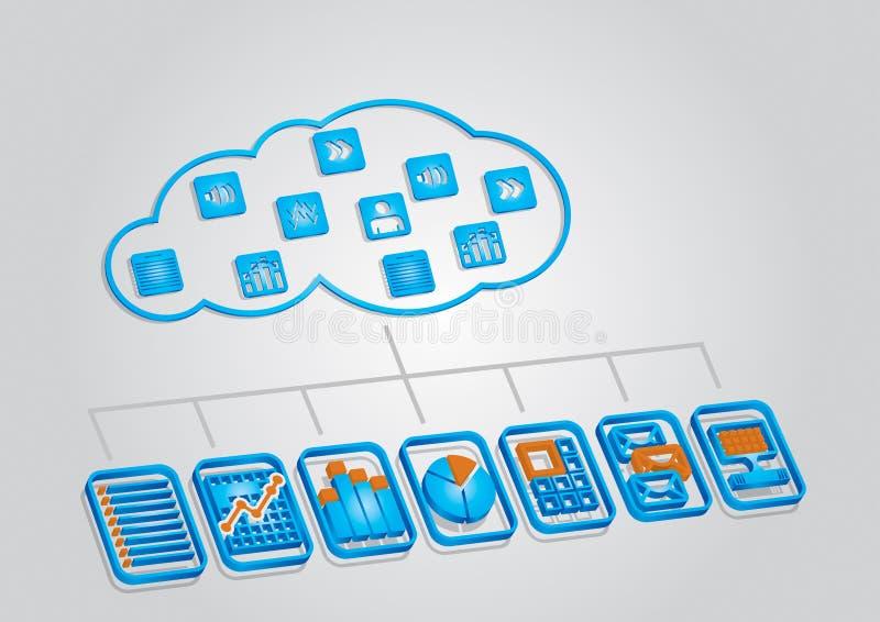 Coud gegevensverwerkingsillustratie stock illustratie