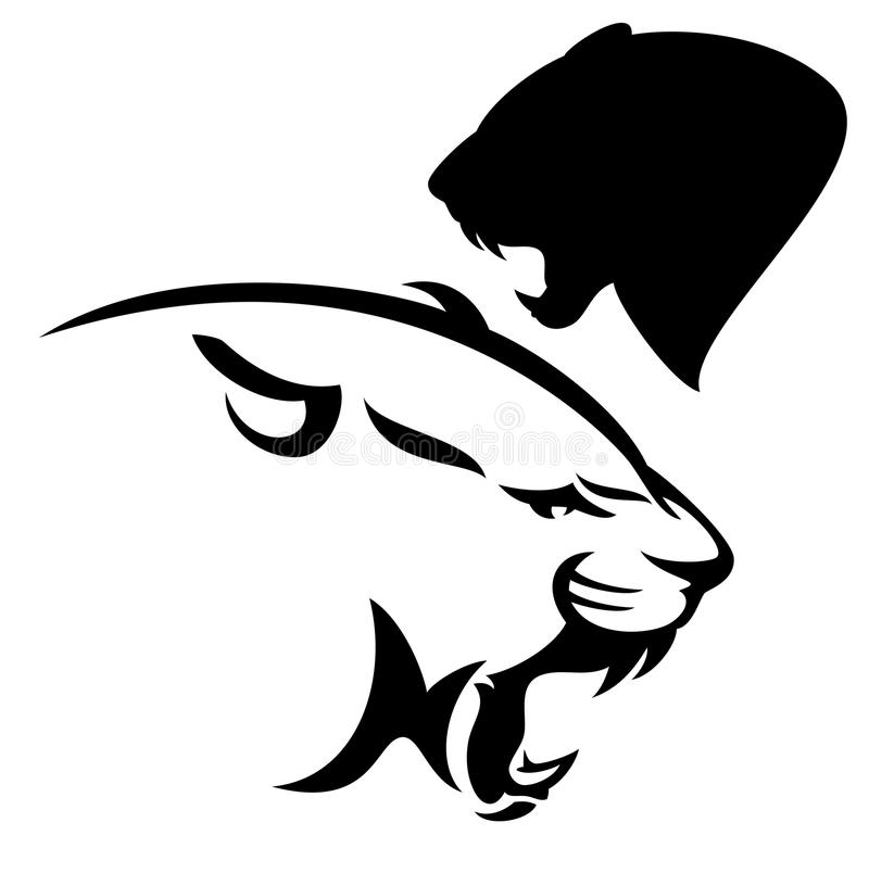 Cougar μαύρο διανυσματικό σχέδιο βρυχηθμού ελεύθερη απεικόνιση δικαιώματος