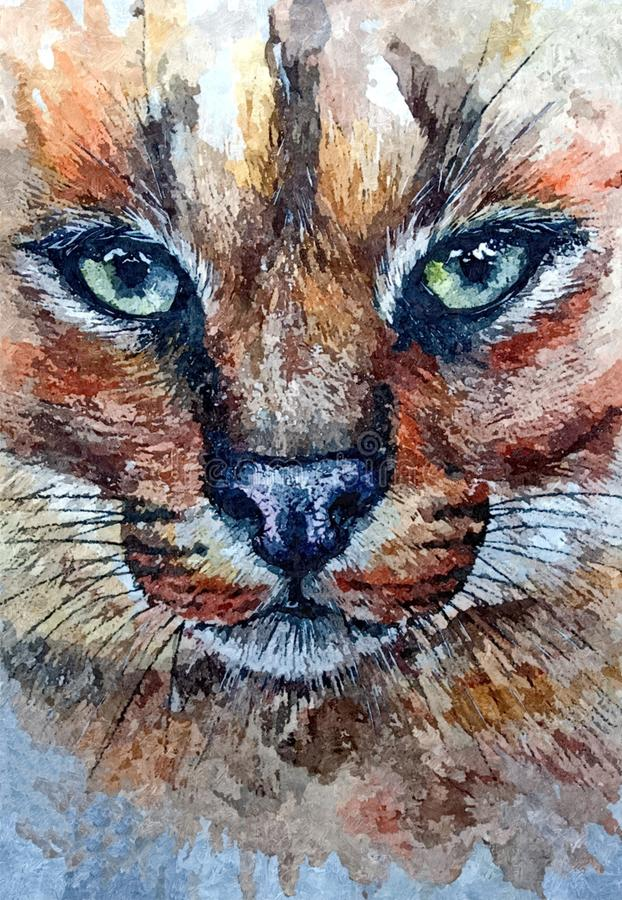 cougar Portret Het schilderen van natte waterverf op papier Naïef art Tekeningswaterverf op papier vector illustratie