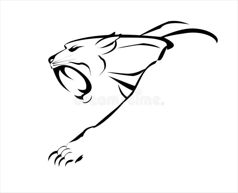 cougar puma Tijger hoektandgezicht grote kat, gebrul en het kruipen royalty-vrije illustratie