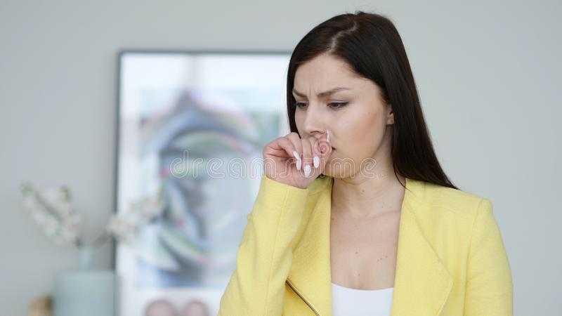 Cough, Portrait of Sick Woman Coughing at Work stock photos