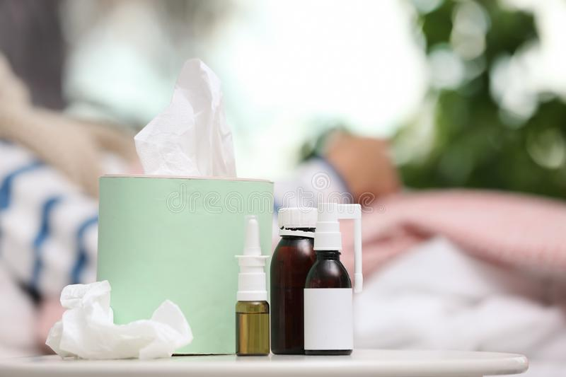 Cough remedies and box with tissues stock images