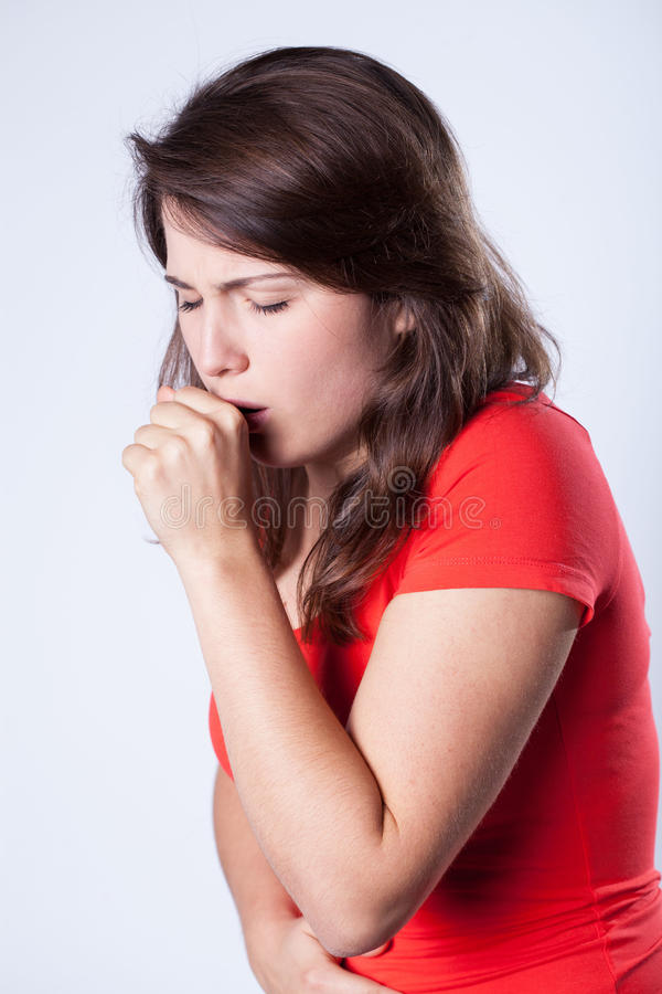 Coughing girl royalty free stock photography
