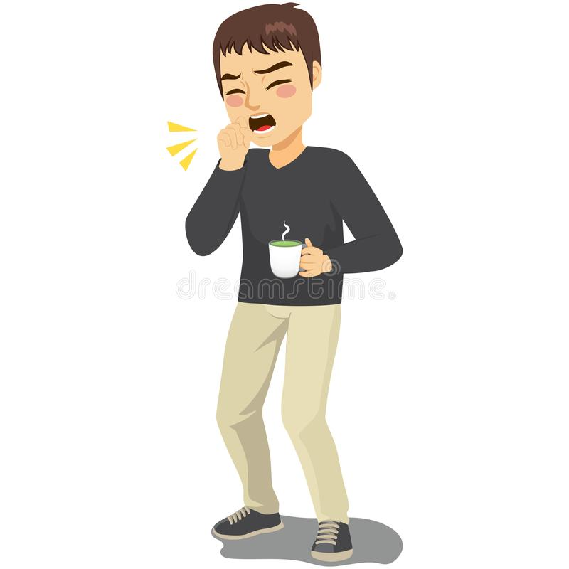 Coughing Man Holding Hot Drink. Young standing man coughing ill with fist in front of mouth and holding hot drink beverage vector illustration