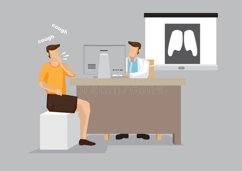 Coughing Patient at Doctor Office for Consultation Cartoon. Coughing man at in hospital for doctor consultation with lung X-ray in the background. Vector stock illustration